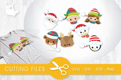 Jolly Christmas Faces SVG, PNG, EPS, DXF, cut file