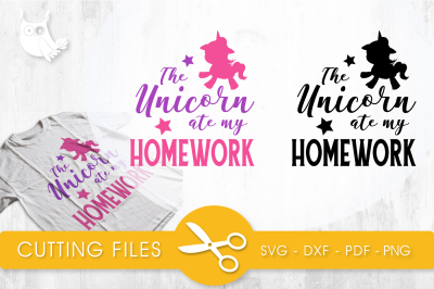 Unicorn ate  my homework SVG, PNG, EPS, DXF, cut file