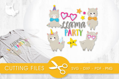 Llama Party  SVG, PNG, EPS, DXF, cut file