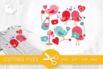 Love birds  SVG, PNG, EPS, DXF, cut file