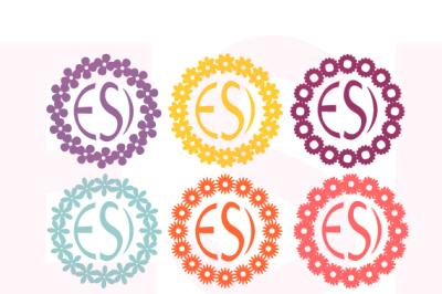 Flower Circle Frames for a monogram - SVG, DXF, EPS.