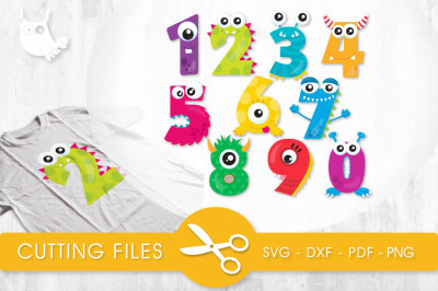 Monster Numbers  SVG, PNG, EPS, DXF, cut file