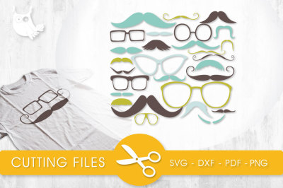 Mustaches and Glasses  SVG, PNG, EPS, DXF, cut file