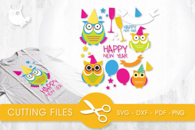 New Year Owls SVG, PNG, EPS, DXF, cut file