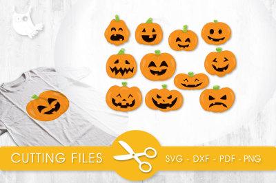 Pumpkin Faces SVG, PNG, EPS, DXF, cut file