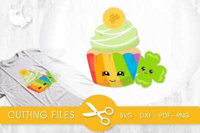 Rainbow Cupcake SVG, PNG, EPS, DXF, cut file