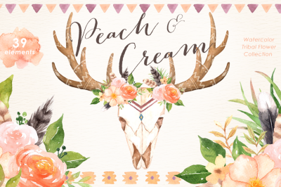Peach & Cream Tribal Clipart