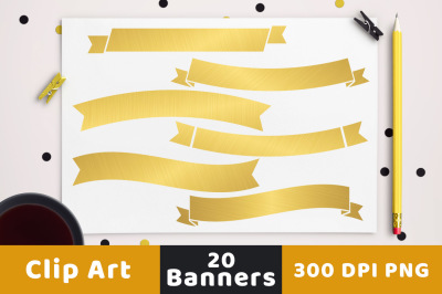 20 Gold Banners Clipart, Gold Wedding Clipart, Wedding Banner Clipart, Gold Clipart, Ribbon Banner