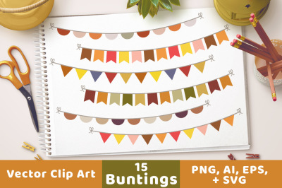 Fall Bunting Clipart, Bunting Banner Clipart, Autumn Bunting SVG, Bunting Flag Clipart, Fall SVG