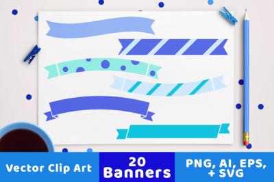 20 Winter Banners Clipart, Winter Wedding Banner Clipart, Banner SVG, Ribbon Banner, Blue Christmas