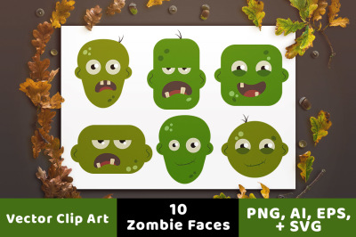 10 Zombie Head Clipart, Halloween Clipart, Zombie Clipart, Monster Clipart, Halloween SVG, Monster SVG