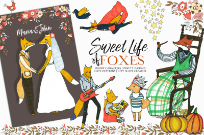 Foxes Hand Drawn Kids Fall Clip Art & Seamless Patterns