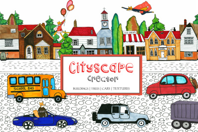 Cityscape Creator Kit Buildings Cars Children Clipart