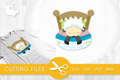 Sleeping Sheep SVG, PNG, EPS, DXF, cut file