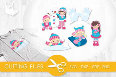 Snow Fun Girls SVG, PNG, EPS, DXF, cut file
