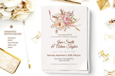 Romantic Wedding Invitation Set