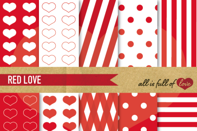 Love Backgrounds Kit in Red Digital Paper Pack