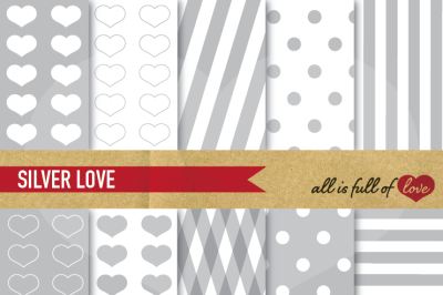 Love Backgrounds Set Silver Grey Patterns Digital Scrapbook