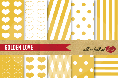 Love Background Patterns in Golden Yellow Scrapbooking digital