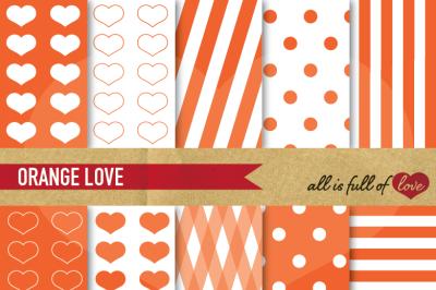 Love Backgrounds in Orange Digital Patterns