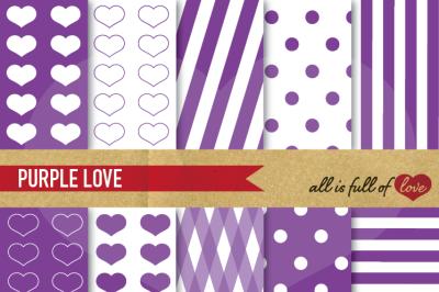 Love Backgrounds Purple Digital Paper Pack
