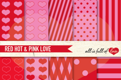 Love Backgrounds in Red Hot Pink Digital Paper Pack