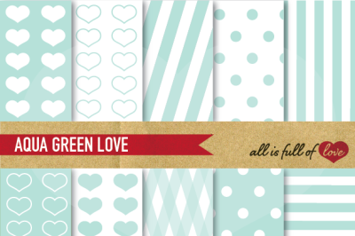 Love Backgrounds Mint Green Digital Paper Set