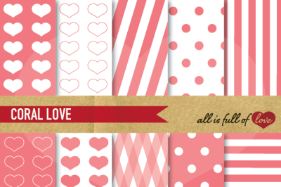 Love Backgrounds Coral Pink Digital Paper Pack