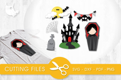 Vampire Haunting  SVG, PNG, EPS, DXF, cut file