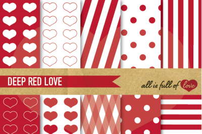 Love Backgrounds Red Digital Paper Pack