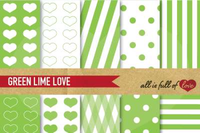 Love Backgrounds Lime Green Digital Paper Pack