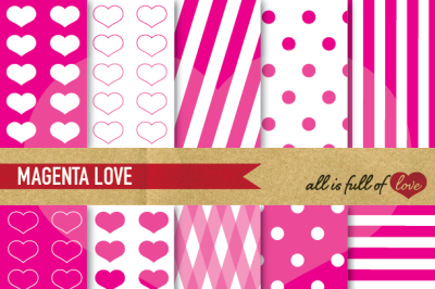 Love Backgrounds Hot Pink Digital Paper Pack