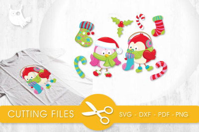 Winter Stocking Birdies  SVG, PNG, EPS, DXF, cut file