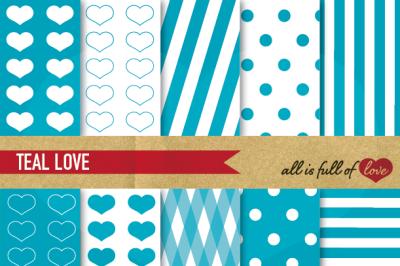 Love Backgrounds Teal Blue Digital Paper Pack