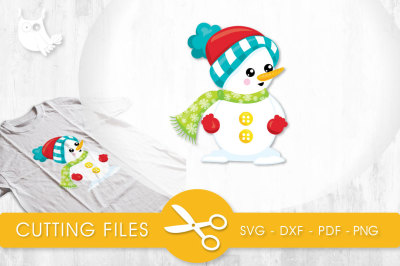 Wintery Snowman  SVG, PNG, EPS, DXF, cut file