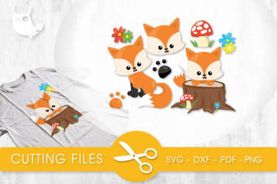 Woodland Foxes  SVG, PNG, EPS, DXF, cut file