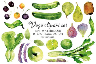 Watercolor Veggies and Fruit