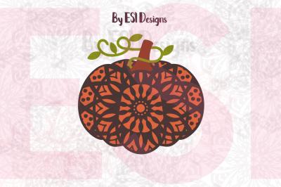 Only $1 - Pumpkin, Mandala Pattern Design, SVG, DXF, EPS & PNG - Cutting Files & Printable.