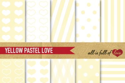 Love Backgrounds in Pale Yellow Digital Paper Pack