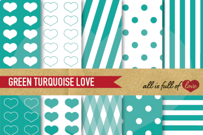 Love Backgrounds in Turquoise Green