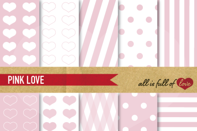 Love Backgrounds in Pale Pink Digital paper