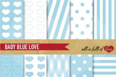 Love Backgrounds in Light Blue Digital Paper Pack
