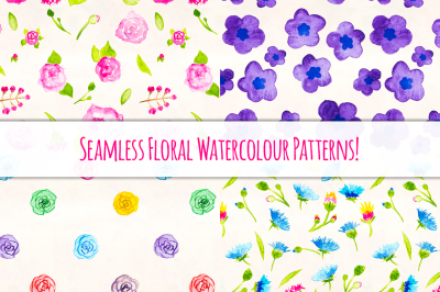 Floral Watercolor Patterns Bundle