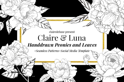 Claire & Luna Hand-drawn Elements of Peonies and Leaves