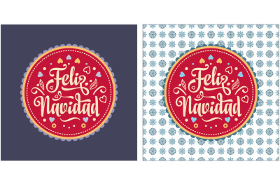 Lettering composition with phrase in in Spain. Winter toy. Feliz navidad.