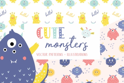 Cute Monsters Patterns & Illustrations