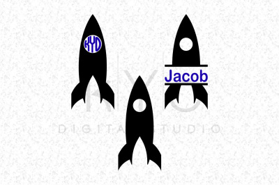 Space Rocket SVG DXF cutting files Circle Split Monogram Frame