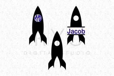 Space Rocket SVG DXF cutting files Circle SplitMonogram Frame