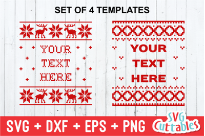 Christmas Sweater Templates set of 4