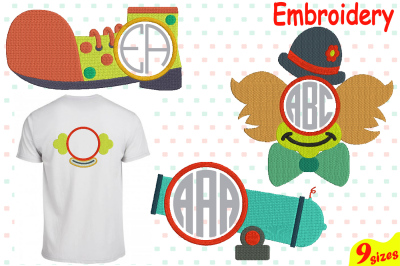 Circus Clown Designs for Embroidery Machine Instant Download Commercial Use digital file 4x4 5x7 hoop icon symbol carnival cannon shoes Frame circle abc magic 80b